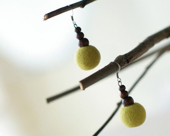 Green Beaded Felted Earrings - handmade green lime felted wool jewelry - ready to ship