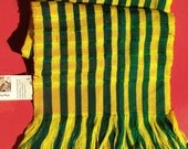 Handwoven Scarf- Bright Striped Green and Yellow
