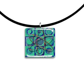 Colorful, Glass tile pendant, handmade, Big Bang Theory inspired