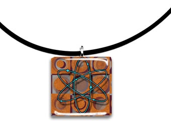 Rust orange and dark purple and teal, Big Bang theory inspired design, Glass tile pendant, square