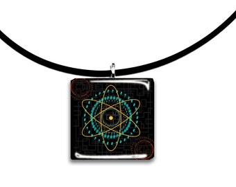 Big Bang theory inspired modern art pendant, orange teal and black, Glass tile pendant