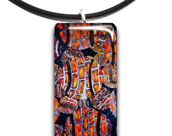 brick balls, abstract modern art, Tennis pendant, Glass tile, red and orange colors