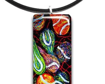 Tennis, art pendant, glass tile pendant, love, abstract art, modern tennis balls, summertime, colorful
