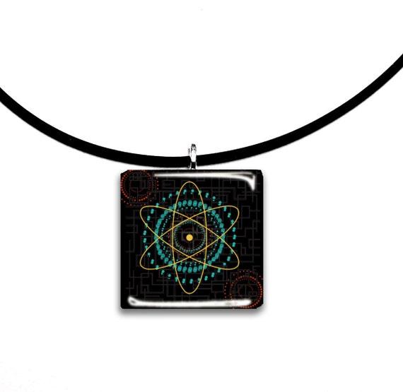 Big Bang theory inspired modern art pendant, orange teal and black, Glass tile pendant