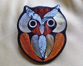 ARTISTIC HANDMADE BROOCH Stone and Shell with Wood Pin / Owl Art
