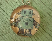 Adorable Blue Robot Soldered Art Glass Charm