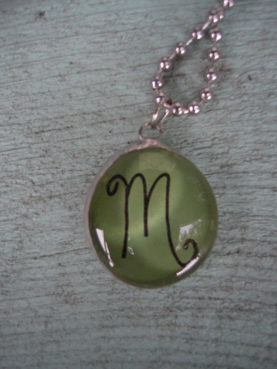 Initial M Soldered Art Glass Charm Necklace on Chunky Ballchain