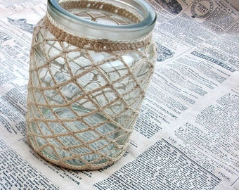 Glass Jar Vase, Candle Holder with Crocheted Overlay in Beige