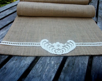 Burlap/Hessian Table Runner with Appliqued Cream Vintage  Lace Trim