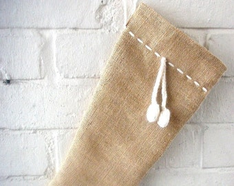 Holiday Christmas Stocking in Burlap/Hessian with Pom-Pom Detail in Natural Wool