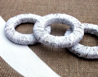 Lace Wrapped  Napkin Rings- set of six