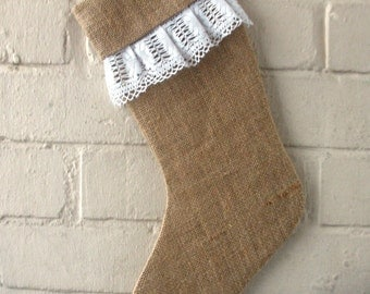 Christmas Stocking in Burlap  and White Vintage Cotton  Lace Trim