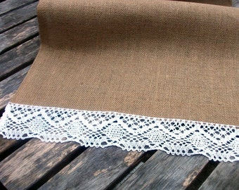 Burlap/Hessian Table Runners with Cotton Lace Trim in White