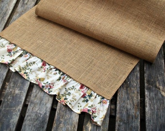 Table Runner Burlap/Hessian with Shabby Vintage Printed Cotton Frill Trim - SALE