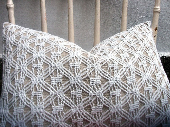 Decorative Pillow/Cushion Cover in Beige Linen Cotton Mix Fabric and off White Crochet Overlay