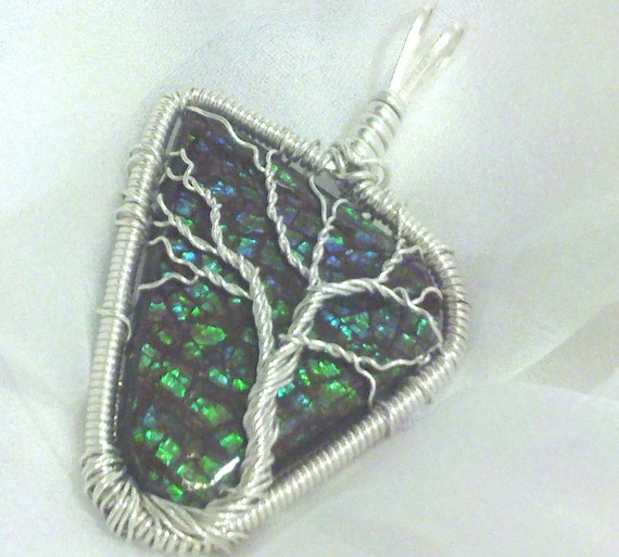 TREE OF LIFE Iridescent Color Changing Ammolite / Ammonite Fossil Stone Pendant Wrapped in 925 Sterling Silver Wire