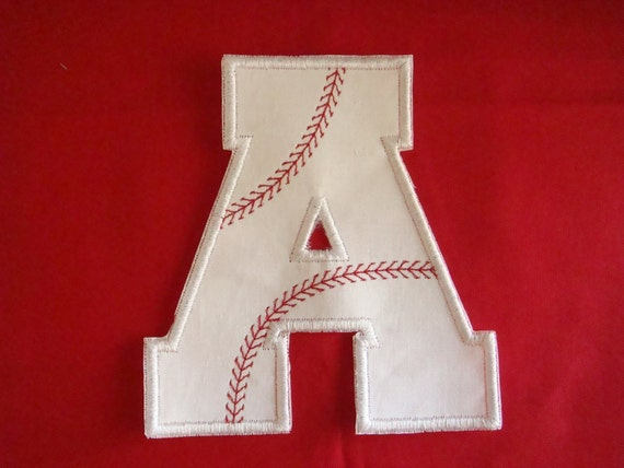 Iron on embroidered fabric applique - Baseball alphabet- Choose your letter