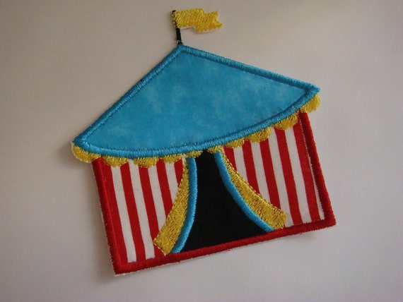 Iron on embroidered fabric applique- Circus big top tent