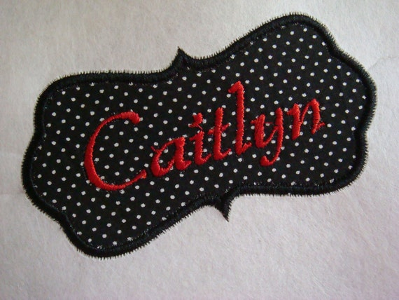 Personalized name patch- Iron on embroidered fabric applique no sew