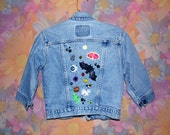 One of a Kind Hand Decorated Kawaii Cropped Denim Jacket