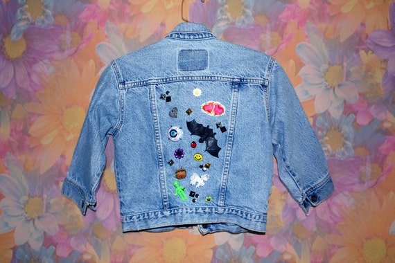 One of a Kind Hand Decorated Kawaii Cropped Denim Jacket