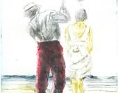 Couple on the beach, 25x35cm drypoint print