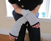 Navy blue and white striped fingerless mittens