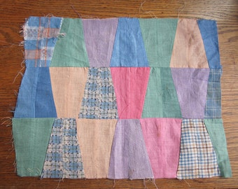 Viintage Hand-Pieced Quilt Top Section