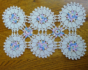 Vintage Hand Crocheted Rectangular Doily With Circular Motifs