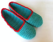 "Super soft , Spring green slippers , Adult Crochet Slippers , green and red yarn slippers , house shoes (ready to ship ""L"" size 9/10)"