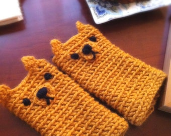 Crochet little bear fingerless gloves , crochet mustard fingerless gloves for adult and teens, CUSTOMIZE fingerless gloves