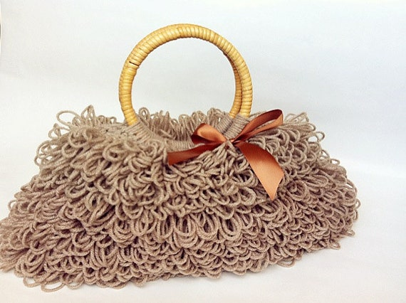 Handmade Crochet Handbags : Lovely Crochet handbag, handmade purse, light brown handbag with ...