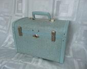 Vintage Samsonite Ultralite Blue Tweed Traincase Style 9212
