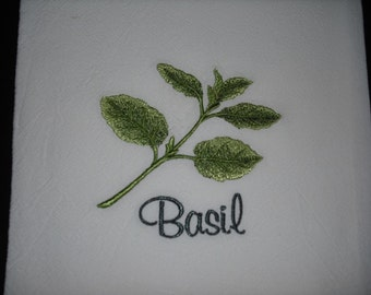 Flour sack towel Herb Basil. Machine embroidered.