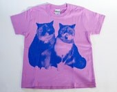 SALE - Printed T-shirt for kids - Lovely cats - lavender - 140cm