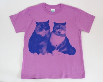SALE - Printed T-shirt - Lovely cats - lavender - Ladies 150cm