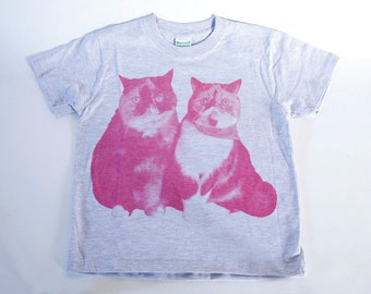 SALE - Printed T-shirt for kids - Lovely cats - gray - 140cm