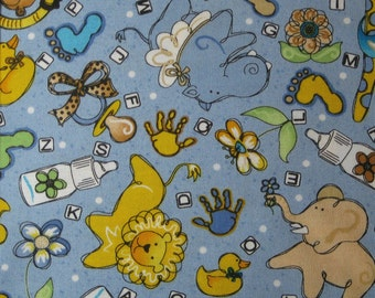 REDUCED  Sweet Baby by Possibilities for Avlyn Oh Baby Toss/blue   One-Half Yard  1812-607