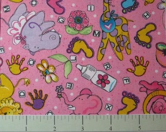 REDUCED  Sweet Baby by Possibilities for Avlyn Oh Baby Toss/pink   One-Half Yard  1812-606