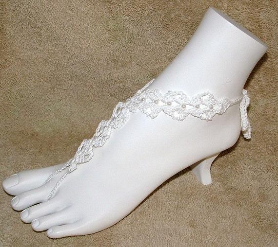 Barefoot Wedding Sandals - or - Ring/Slave Bracelet  - Wedding Sandals with Beads