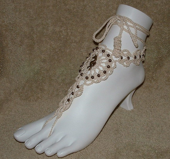 Barefoot Sandals - Hand Crocheted with Sea Horse Charm & Beads