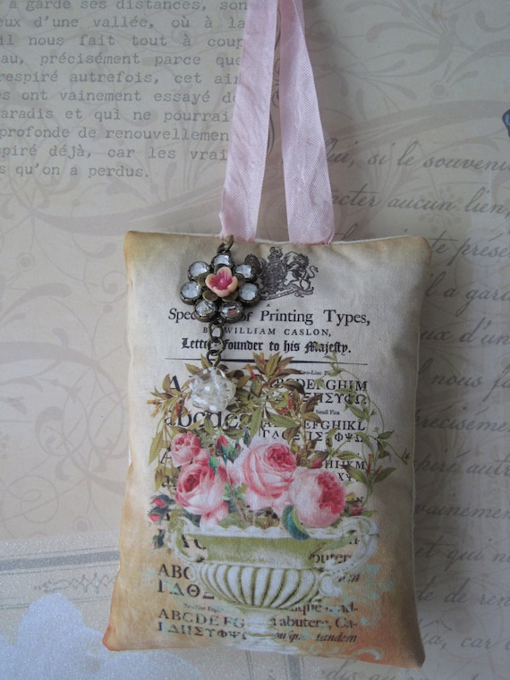 PINK Roses LAVENDER SACHET Crystal Flower Charms on Antique Printers Type Background