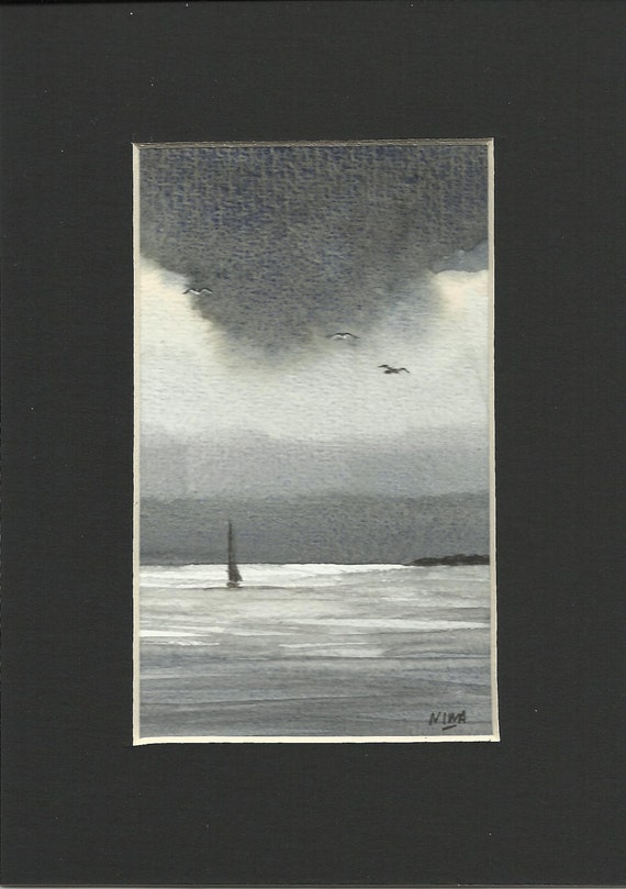 Original miniature watercolour painting of a sailing yacht and a stormy sky