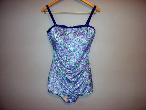 Vintage 1960s floral one piece swimsuit L