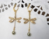 Dragonfly goldtone earrings