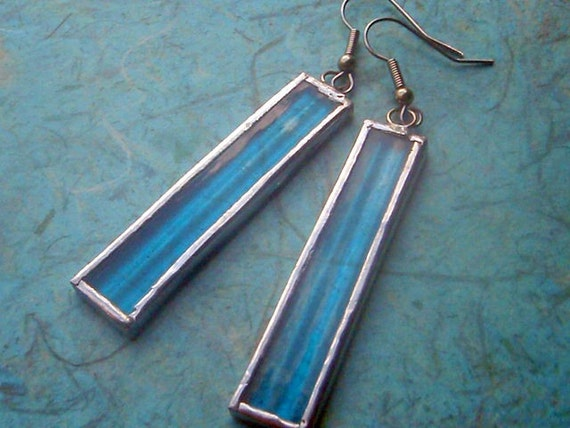 Stained Glass Earrings Long Dangle Turquoise Aqua Blue Silver Glam Handcut
