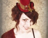 """Red Velvet Beauty Steampunk / Edwardian  """"Mad Hatter"""" Style-  Tiny Top Hat / Facinator"""