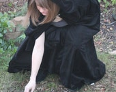 Made to Order Black Velour Cloak with Clasp - Elven, Renaissance, Harry Potter, Lord of the Rings, Twlight