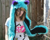 Furry Animal Hat Combo - Teal, Purple and Black Cheshire Cat Inspired Kokoro Hood Made to Order