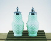 1960s Kanawha Hobnail Jadeite and Milk Glass Salt and Pepper Shaker